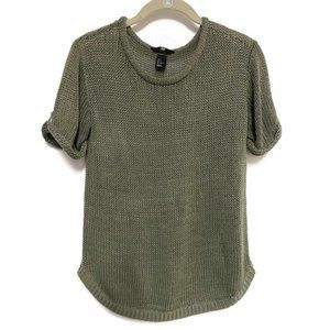 H&M Women's Short Sleeve Olive Green Sweater Small